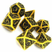 Yellow & Black Celtic 3D Dice Set